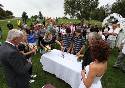 Forest Ridge Golf & Country Club - Sand wedding ceremony.